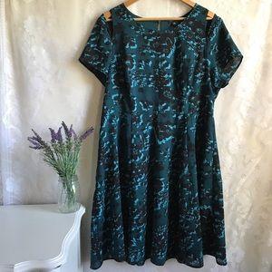 Torrid Fit Flare Dress Green Black Floral Plus 18